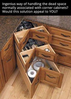 Organization and Storage Hacks for Small Kitchens --> DIY kitchen corner drawers Most Popular Kitchen Design Ideas on 2018 & How to Remodeling Kitchen Ikea, Kitchen Drawers, Kitchen Redo, Kitchen Pantry, Space Kitchen, Kitchen Island, Kitchen Tools, Cheap Kitchen, Kitchen Backsplash