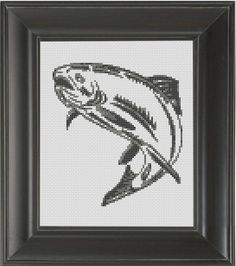 """Salmon"" - From CrassCross. The cross stitch pattern to make this piece is available for just $5. http://crasscross.com/collections/miscellaneous/products/salmon-cross-stitch-pattern-chart"