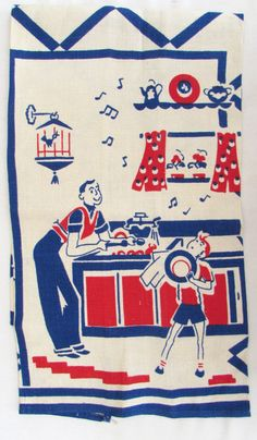 Vintage Mid Century Kitchen Towel - Vintage Dish Towel - Red White and Blue - Boys Doing Dishes - by McBeanHomeVintage on Etsy https://www.etsy.com/listing/226119985/vintage-mid-century-kitchen-towel
