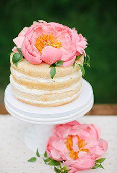 One-Tier Naked Wedding Cake with Pink Peonies   Wedding Cake