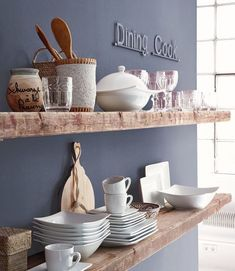 What a great close up of these floating shelves! A neat way to style and showcase the pretty dishes you have! Shop our shelves today! Home Decor Kitchen, Kitchen Interior, New Kitchen, Country Kitchen, Wooden Shelves, Wall Shelves, Floating Shelves, Wood Shelf, Küchen Design
