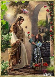 Jesus and little girl with flowers. Jesus Is Risen, God Jesus, Jesus Loves, Pictures Of Jesus Christ, Religious Pictures, Art Heaven, Image Jesus, Christian Pictures, Bride Of Christ