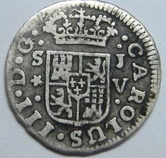 1761 SEVILLA 1/2 REAL CHARLES III SPANISH COLONIAL SCARCE COIN SPAIN