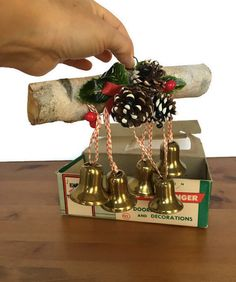 Old yule log bell ringer vintage Christmas by Acrossthegap on Etsy