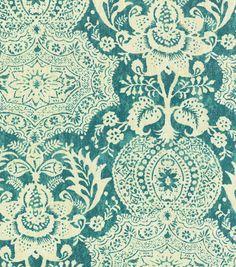 Upholstery Fabric-Williamsburg Shalimar Resist Peacock