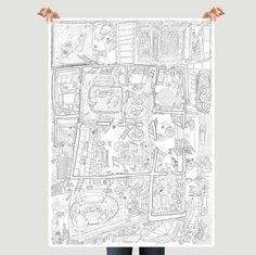 """Autorské omalovánky """"Co se děje ve městě"""". V balení najdete tři velké listy (63/45cm): Na hřišti, Doma, Na ulici. Svým netradičním rozměrem jsou omalovánky vhodné i na dětskou párty nebo do školky. Vybarvování rozvíjí u dětí jemnou motoriku, kreativitu a fantazii. List """"Doma"""" je navíc nakreslen z nadhledu a připomíná půdorys bytu, čímž rozvíjí u dětí prostorovou představivost.  Omalovánky jsou zabalený v kartonovém tubusu o rozměru 50/5 cm, který je uzavřen dvěma plastovým..."""