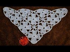 """Безотрывное вязание шали из цветочных мотивов. Shawl """"Blue turquoise"""" - YouTube"""