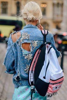 ripped denim embellished denim jacket streetstyle 90s backpack