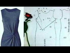 Drape Dress Pattern, Dress Sewing Patterns, Apron Patterns, Vestidos Marisa, Sewing Collars, Front Knot Dress, Dress Cuts, Diy Dress, Apron Dress