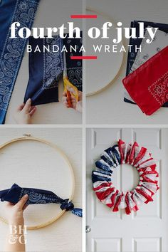 Learn how to make this adorable Fourth of July wreath in under 10 minutes. We've got all the instructions and hanging advice you need, plus more of our favorite patriotic decorating ideas! Patriotic Decorations, Festival Decorations, Cub Scout Den Flags, Diy Wreath, How To Make Wreaths, Independence Day, Fourth Of July, Seasonal Decor, Decorating Ideas