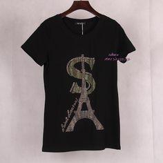 2016 Summer Women's Eiffel Tower Printed & Jewel Embedded T shirt Short Sleeve Punk Rock Brand T-shirt tops Tees Women Plus Size