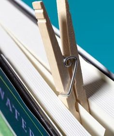 Clothespin as Bookmark | New roles for items that can help you get dinner on the table.