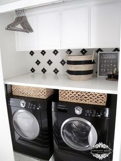 A black-and-white makeover of a small laundry room turns it from awkward to sharp and practical.
