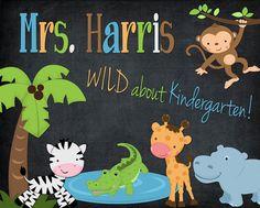 Custom Printable PDF File DIY WILD Jungle Animal Theme Teacher Name Sign Letters School Gift Chalkboard Classroom Decor Wall Art Door via Etsy