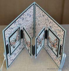 "Fancy Fold Card Video - JanB Cards - Handmade Multi Paper Layered Greeting Card - ""W"" Fancy Fold Card Video - JanB Cards - Handmade Multi Paper Layered Greeting Card - Mini Album Scrapbook, Scrapbook Cards, Fancy Fold Cards, Folded Cards, Joy Fold Card, Greeting Cards Handmade, Handmade Birthday Cards, Diy Birthday, Hand Made Greeting Cards"