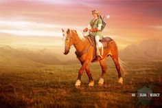 Link rides Epona at sunset - The Zelda Project