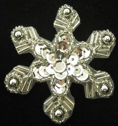 """Snowflake with Silver Sequins and Beads 2.5"""""""