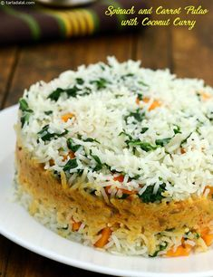 Spinach and Carrot Pulao with Coconut Curry recipe, Healthy Recipes - Rice Recipes Spinach Recipes, Veg Recipes, Curry Recipes, Indian Food Recipes, Pasta Recipes, Vegetarian Recipes, Cooking Recipes, Healthy Recipes, Andhra Recipes