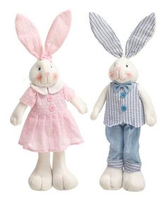 Love this Pink & Blue Bunny Figurine Set on #zulily! #zulilyfinds