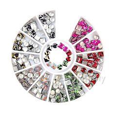 3mm 300Pcs Crackle Leopard Mini Square Stud Acrylic UV Gel Nail Art Decoration Wheel