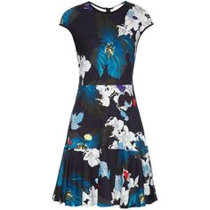 Erdem Darlina Ohana Orchid-print jersey dress featuring polyvore, fashion, clothing, dresses, blue white, cap sleeve dress, blue floral dress, floral print dress, slimming dresses and blue jersey dress