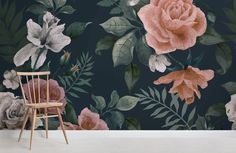wall Murals Style - Dark Green and Pink Floral Wall Mural. Floral Bedroom, Bedroom Green, Green Rooms, Sage Bedroom, Black Bedrooms, Bedroom Black, Master Bedroom, Black Floral Wallpaper, Green Wallpaper