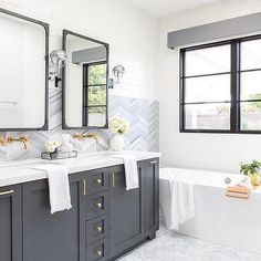 White and Gray Master Bath with Gray Cornice Box