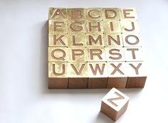 Gilded Alphabet Set modern accessories and decor Divas, Alphabet Blocks, Letter Blocks, Easy Crafts To Make, Block Lettering, Nursery Inspiration, Baby Sewing, Organizer, Baby Love