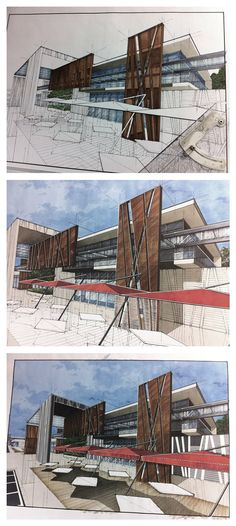 conceptual design and hand drawn artists impression for proposed mall