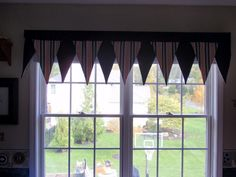 Pennant window treatment for boy's room Valence Curtains, Nursery Curtains, Valances, Window Treatments Living Room, Custom Window Treatments, Baseball Curtains, Classroom Decor Themes, Classroom Ideas, Kids Bedroom