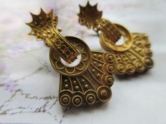 Victorian Screw Back Earrings in Gold Fill  Etruscan Revival