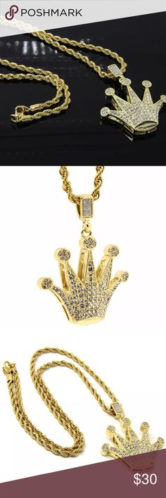"""Gold Crown Iced Out and 24"""" Gold Rope Chain Mens Gold Plated Chain & Pendant Free Shipping To All United States W/ Tracking Confirmations To Ensure Delivery!!   Chain Specifications Chain Lengths: 24 Inches Long Chain Width: 4mm Thick Metal Type: 14k Gold plated  Pendant Specifications Metal Type: 14k Gold plated  This Listing Is For A Chain And Pendant Set. You Will receive One 4mm 24 Inch Rope Chain. Along With A Nice Iced Out Shiny Pendant Piece To Match The Chain. Accessories Jewelry"""