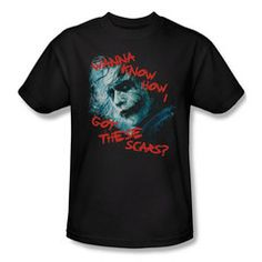 Don't miss this Scar Question mens t-shirt. The Joker deliberately made up a different story each time he asked someone in The Dark Knight where he got his scars. His character was deliberately evasiv Batman Dark, Batman The Dark Knight, Joker Scars, Heath Ledger, Joker And Harley, This Or That Questions, Dc Comics, Size Chart, Color Black