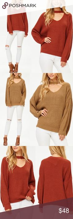 VALERIA Choker Sweater - RUST Super cozy.  AVAILABLE IN RUST & TAUPE  60% Cotton 40% Polyester  NO TRADE  PRICE FIRM Bellanblue Sweaters