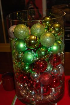 Vase with Christmas Oranaments in it for Table centerpiece