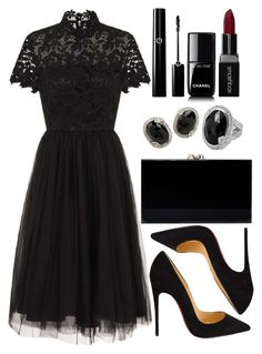 A fashion look from August 2017 featuring chi chi dresses, black pointed-toe pumps and charlotte olympia clutches. Browse and shop related looks. Classy Dress, Classy Outfits, Chic Outfits, Trendy Outfits, Black Dress Outfits, Date Outfits, Black Dress Accessories, Royal Clothing, Looks Plus Size