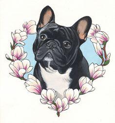 French Bulldog Tattoo design by Jeroen Teunen Tattoo Bulldog, French Bulldog Tattoo, Girly Tattoos, Dog Tattoos, Animal Tattoos, Bulldogge Tattoo, French Bulldog Drawing, French Bulldog Wallpaper, French Dogs