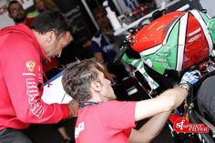 Engineers at work on Yamaha R6 of Sam Lowes in the World Supersport Championship.   Sprint Filter P08 air filter equipped