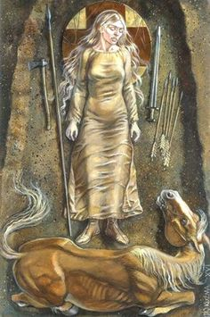 Reconstruction of the female weapon grave from Nordre Kjølen, Hedmark, Norway. Illustration by Miroslaw Kuzma