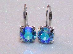 Aqua Aurora Borealis Swarovski Crystal Dangle by BellaScintilla, $16.00