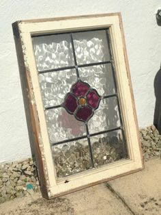Antique vintage old stained glass window lead flower design Stained Glass Frames, Antique Stained Glass Windows, Stained Glass Flowers, Faux Stained Glass, Stained Glass Designs, Stained Glass Projects, Stained Glass Patterns, Leaded Glass, Mosaic Glass