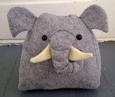 Elephant Pillow by BebeKitties on Etsy. $20.00, via Etsy.