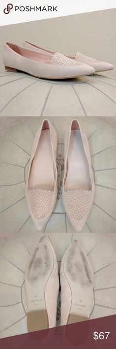 Cole Haan Allison Blush Perforated Flat Sz 9 These Cole Haan Allison Suede Skimmer Perforated Flats in Canyon Rose are beautiful!Slip-on. Perforated detail panel with scalloped trim. Pointed-toe. Soft leather lining and footbed. Padded footbed. Rubber outsole. Small stacked heel. Excellent condition - the only wear is on the soles. Size 9. Cole Haan Shoes Flats & Loafers