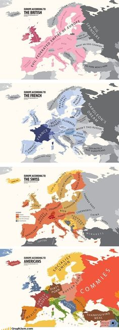 A fun infographic on the Geography of Europe according to British, French, Swiss and Americans