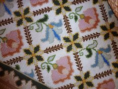 Portuguese Needlework Rugs   aka  Arraiolos Carpet Cross Stitch Boarders, Cross Stitch Flowers, Portuguese Culture, Disney Little Mermaids, Weaving Textiles, Handmade Rugs, Soft Furnishings, Bargello, Cross Stitch Embroidery