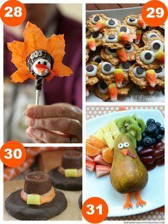 Tootsie Pop Turkey, Turkey Pretzels, Rolo Pilgram Hats, Fruit Turkey and 31 Days of Thanksgiving Kids Food Craft Ideas on Frugal Coupon Living