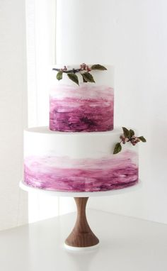 Featured Cake: Winifred Kristé Cake; Incredibly creative pink dye two tier wedding cake