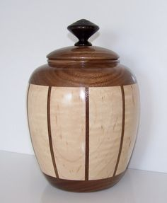 Walnut and Maple Wooden Bowl with Lid 581 on Etsy, $67.70 CAD