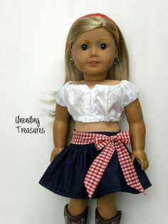 73ac1f5376db 18 inch doll clothes made to fit like american girl doll clothes eyelet  peasant crop top and dark denim skirt with red gingham bow