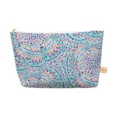 """Amazon.com : Kess InHouse Everything Bag, Tapered Pouch, Miranda Mol """"Kaleidoscopic White"""" Aqua Abstract, 8.5 x 4 Inches (MM4087BEP03) : Office Products"""